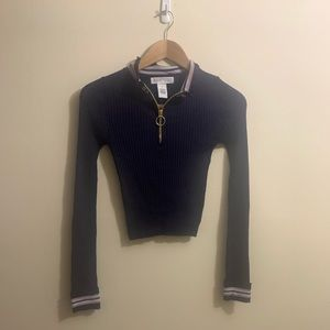 Planet Gold navy blue ribbed sweater